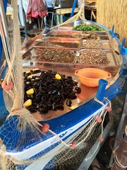 Catania, fish market, fridge boat with mussels