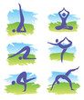 Yoga in nature icons
