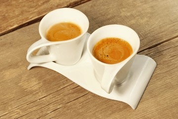 Two Vintage Cups of Espresso on Grungy Wooden Table, XXXL