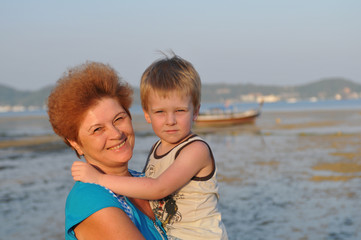Grandmother and grandson portrait