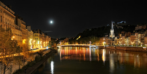 serene view of Saone river at night