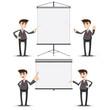 cartoon businessman presentation with board