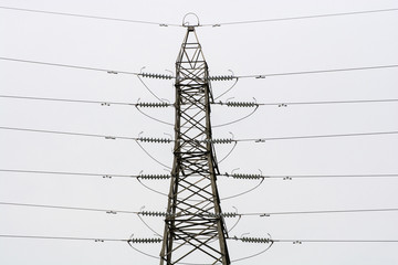 Grey pylon against a grey sky