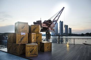 crane and box