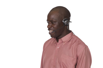 young black man with headset
