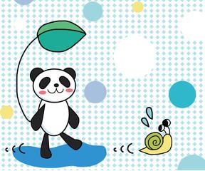 パンダとかたつむりのおいかけっこ 編集可能ベクターイラスト