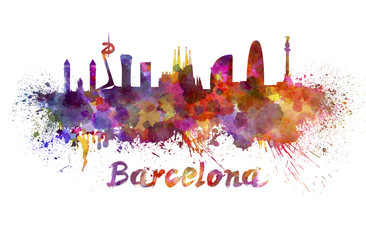 Barcelona skyline in watercolor