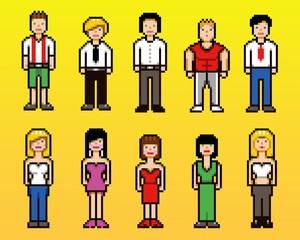 Set of pixel art people avatar icons, vector illustration