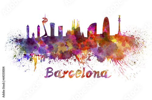 Foto op Canvas Mediterraans Europa Barcelona skyline in watercolor