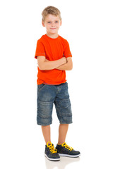 little boy posing on white background