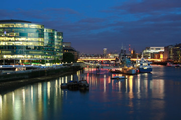 HMS Belfast and Southbank at night.