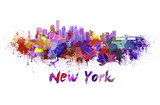 New York skyline in watercolor poster