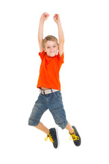 cheerful boy jumping