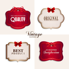 Vector vintage labels with red ribbons.