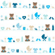 Seamless Pattern Teddy Baby Symbols Boy Blue/Beige