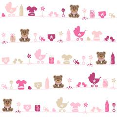 Seamless Pattern Teddy Baby Symbols Girl Pink/Beige