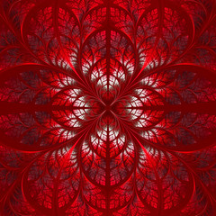 Symmetrical pattern of the leaves in red. Collection - tree foli