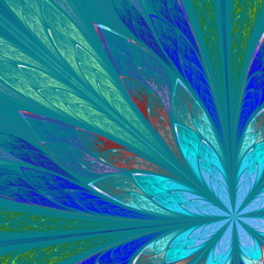 Multicolor fractal flower on blue background. Computer generated