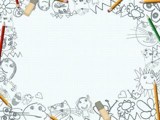 children's pencil drawings desk background