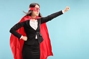 Female superhero with raised fist