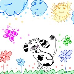 child's drawing dog on a meadow