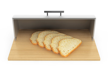 Modern steel bread bin with pieces of bread