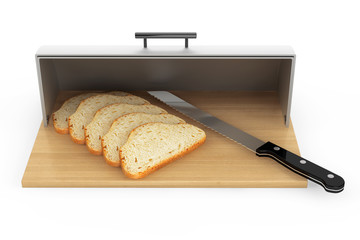 Modern steel bread bin with pieces of bread and knife