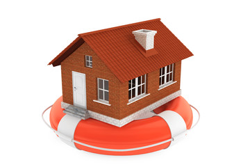 Property insurance concept. House in lifebuoy