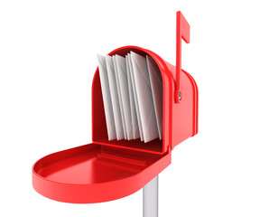 Red mail box with heap of letters