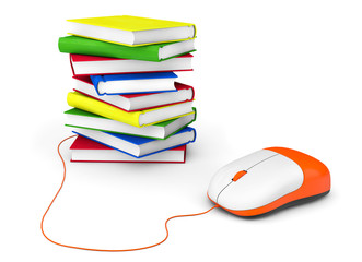 Internet education. Books and computer mouse