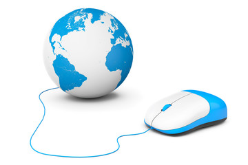 Computer mouse connected to Earth Globe