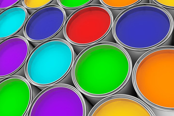 Extreme closeup colorful paint cans