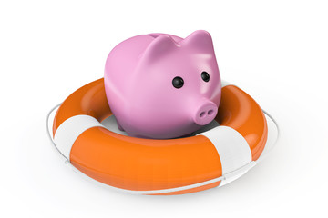 Money Save concept. Piggy bank with the lifebuoy
