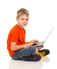caucasian boy using laptop
