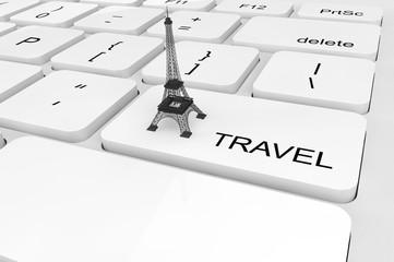 Extreme closeup Eiffel Tower on a keyboard