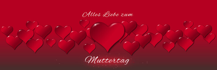 Illustration of hearts for a Mother's Day in German