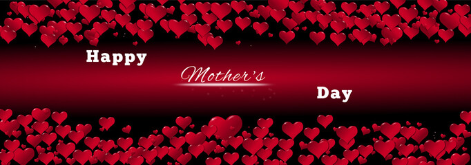 Banner of hearts for Mother's Day red background