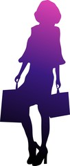 Beautiful young woman silhouette shopping