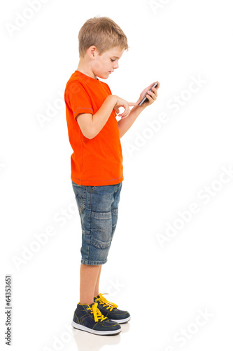 young boy using cell phone