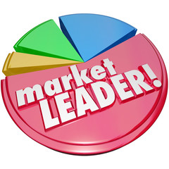 Market Leader Words Pie Chart Top Winning Company Biggest Share