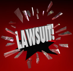 Lawsuit Word Smashing Glass Sue Claim Court Damages
