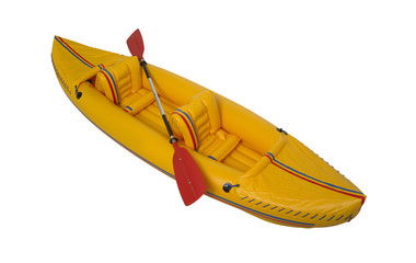 Yellow plastic kayak isolated on white