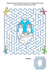 Maze game and coloring page - anemones and fish