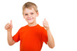 young boy showing thumbs up gesture