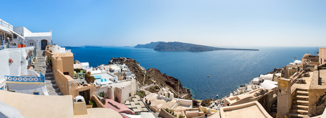 Panorama of Fira town - Santorini island,Crete,Greece.