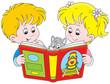 Obrazy na płótnie, fototapety, zdjęcia, fotoobrazy drukowane : Little girl and boy reading a book