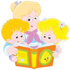 Grandma and grandchildren reading a book