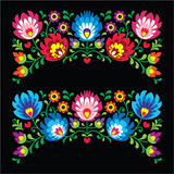 Polish floral folk embroidery card on black - Wzory Lowickie