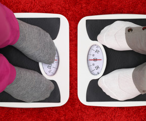 Females feet on bathroom scales