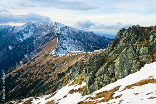 canvas print picture Mountain winter snowy landscape